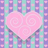Pink heart card. Valentine's day card with heart shaped frame for the text Royalty Free Illustration