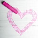 Pink heart and chalk Royalty Free Stock Images