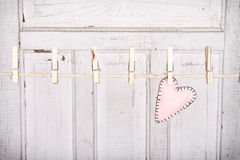 Heart on a clothes line Royalty Free Stock Photography