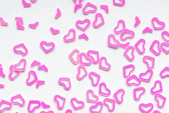 Pink heart confetti Stock Photos
