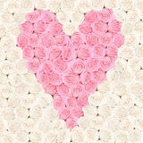 Pink heart consisting of roses with flower background Royalty Free Stock Images