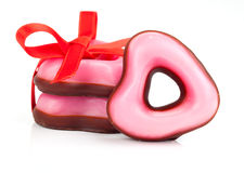 Pink heart cookies  for valentines day, Stock Image