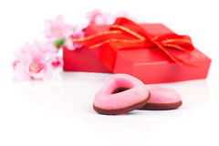 Pink heart cookies for valentines day, Royalty Free Stock Images