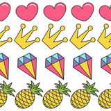 Pink heart, crown, diamond, pineapple. Quirky cartoon Seamless Pattern White background. Flat design. Stock Photography