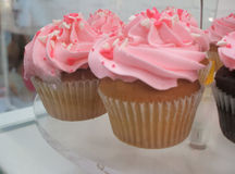 Pink Heart Cupcakes Stock Photography