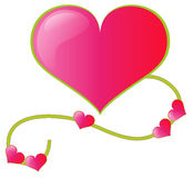 Pink heart with curls Stock Image