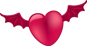 Pink heart with dark pink wings Stock Image
