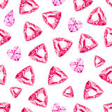 Pink heart diamonds and ruby  seamless vector pattern Royalty Free Stock Photography