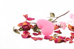 pink heart with dry rose royalty free stock photos