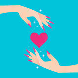 Pink heart. Elegant women's hand. Stock Images