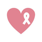 Pink heart emblem with symbol breast cancer. Vector illustration stock illustration