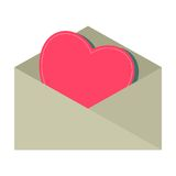 Pink heart into envelope Stock Photography