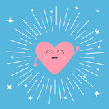 Pink heart face head with hands. Cute cartoon kawaii smiling character. Round line shining star circle. Valentines day sign symbol Stock Photo