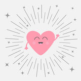 Pink Heart Face Head With Hands. Cute Cartoon Kawaii Smiling Character. Round Line Shining Star Circle. Valentines Day Sign Symbol Stock Photography