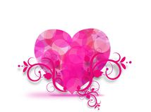Pink heart with floral ornaments Stock Photo