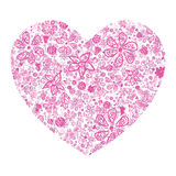 Pink heart floral pattern. With flowers vector illustration
