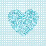 Pink heart floral pattern seamless. With flowers stock illustration