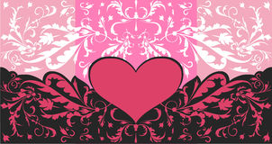Pink heart and floral swirls Royalty Free Stock Image