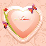 Pink heart with flowers and butterflies on the ornamental background royalty free stock photo
