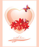 Pink heart with flowers and butterflies. Valentines card Stock Photos