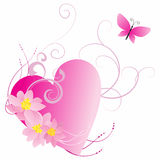 Pink heart with flowers and butterfly on white Stock Photography