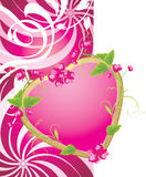 Pink heart with flowers. Valentines card. Pink heart on the decorative background. Valentines card. Illustration Royalty Free Stock Photo