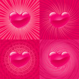 Pink Heart on four variant backgrounds Royalty Free Stock Images