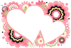 Pink Heart Frame. Collage of flowers and circles featured around a heart on a white background Stock Photos