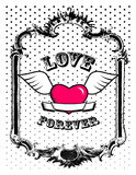 Pink heart in frame. Vector Stock Photos