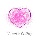Pink heart in a gift on Valentine's day Stock Images