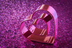 Pink Heart with Glitter Background Royalty Free Stock Image