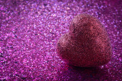 Pink Heart with Glitter Background Stock Photos
