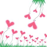 Pink heart with green grass on white background. stock illustration