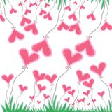 Pink heart with green grass on white background. vector illustration