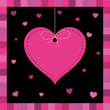Pink heart greeting card Royalty Free Stock Photography