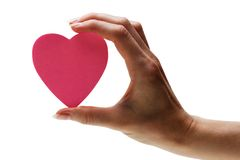 Pink heart in hand Stock Photos