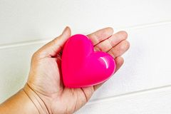Pink Heart and hand for medical content. The pink Heart and hand for medical content royalty free stock images