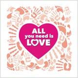 Pink heart , handprints and footprints - vector Stock Photo