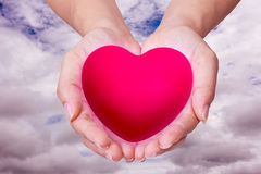 Pink Heart in hands on nature background Royalty Free Stock Photos