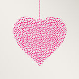Pink Heart Hangs over Gray Background Stock Images