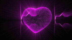 Pink Heart with Heartbeat Cardiogram. stock footage