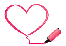 Pink heart and highlighter Royalty Free Stock Photo
