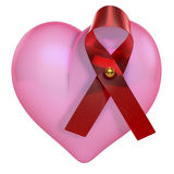 Pink heart with hiv bow, aids bow Stock Photos