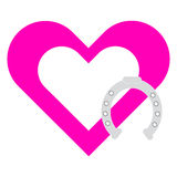 Pink heart with horse shoe on white background. Vector illustration Royalty Free Stock Images