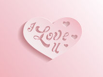 Pink heart with I love you inscription. Romantic pastel pink paper love heart with the inscription I love you cut out on a pink to white gradient background Stock Photography
