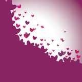 Pink heart icons or symbols flying and spreading - concept vecto Royalty Free Stock Photos
