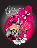 Pink heart illustration. An illustration with pink hearts and abstract elements Stock Photography