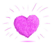 Pink heart illustration.Hand drawn. Stock Photography