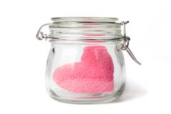 Pink heart in a jar Royalty Free Stock Photos