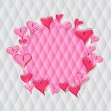 Pink Heart Label on Rhombus Pattern Royalty Free Stock Photos